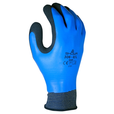 Guante Showa 306, Nylon/latex 2-capas, Negro/azul