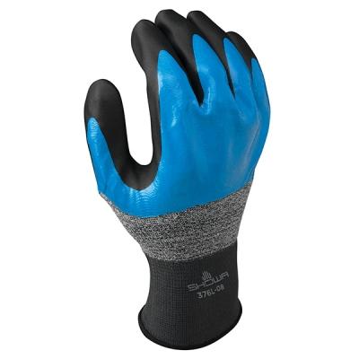 Guante Showa 376, Nylon/ Nitrilo 2-capas, Negro/azul, 3/4