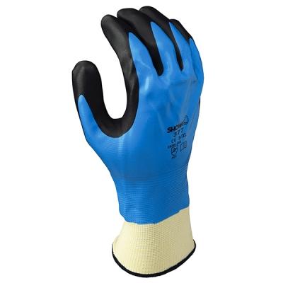 Guante Showa 377, Nylon/nitrilo 2-capas, Negro/azul