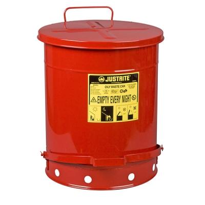 Recipiente Para Residuos Aceitosos Justrite, Rojo, Acero, Pedal, 14-gal