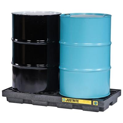 Plataforma Justrite Ecopolyblend, Negro, 2-tambores