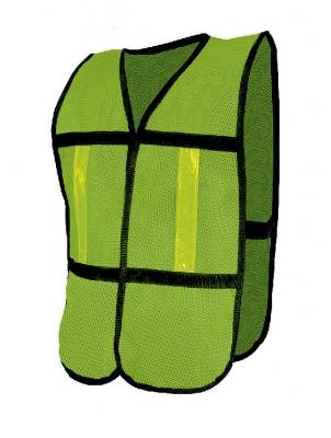 Chaleco De Malla Jyrsa Sr-1010cr Verde Con Reflejante Plastico