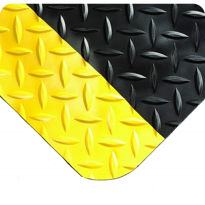 Tapete Diamond-plate Select 495, 9/16-in, 3x75-ft, Negro/amarillo